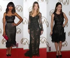 2012 celebrity red carpet trend black lace cocktail dresses
