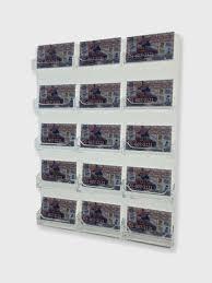 Business Card Racks 15 Pocket Business Card Holder Clear Acrylic Horizontal Wall Mount