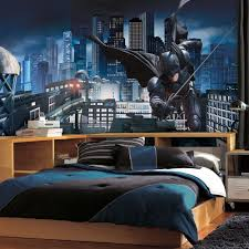 modern wooden kids bedroom furniture with large batman wall mural