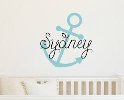 Name On Bedroom Wall Vinyl Wall Decal Anchor With Name Nautical Decal Wall Decal