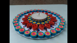 how to make easy quilling design of diya with the help of cd youtube