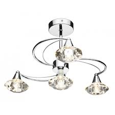 Ramsdens Home Interiors Dar Lut0450 Luther Ceiling 4 Light Polished Chrome Affordable