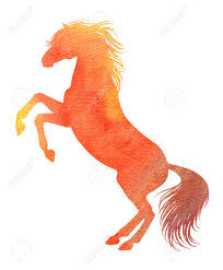 rearing horse silhouette in watercolor technique red colour stock