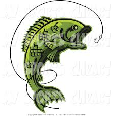 sports clip art of a fish and hook with line by vector tradition