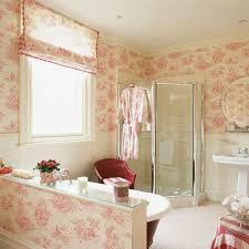 shabby chic bathroom with wallpaper and vintage fixtures
