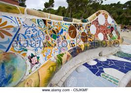Serpentine Bench Mosaic Bench In Park Guell Barcelona Stock Photo Royalty Free