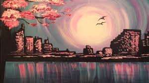 evening skyline fast easy acrylic painting tutorial for beginners how to paint step by step you