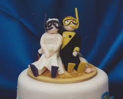 scuba divers personalised wedding cake topper blueberry cakes