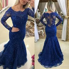 royal blue lace long sleeve mother of the bride dresses square