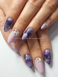 purple galaxy nail art with swarovski crystals nails pinterest