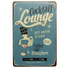 Home Decor Signs And Plaques Cocktail Lounge Tin Sign Vintage Metal Plaque Pub Bar Wall Decor