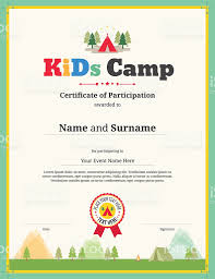 kids certificate template vector for camping participation kids certificate template vector for camping participation royalty free stock art