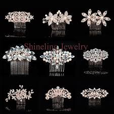 wedding hair combs deco gold pearls rhinestones flower wedding hair
