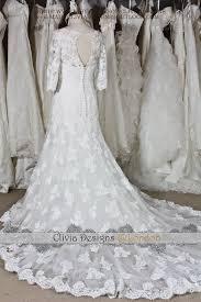 vintage lace wedding dress short sleeves sheer keyhole back lace
