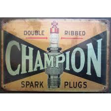deco plaque metal plaque bougie champion spark plug tole deco garage loft bar www