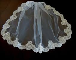 communion veil holy communion veil white pearl and lace trim on tradesy