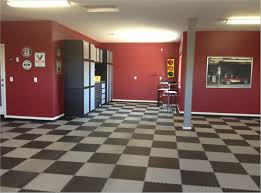 decor garage decor ideas with red wall and stools for inspiration