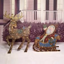 Lighted Santa And Reindeer Outdoor by Indoor Christmas Reindeer Decorations Indoor Living Room