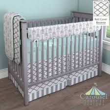 Cloud Crib Bedding Mint Gray Arrow Modern Baby Bedding Baby Bedding Triangles