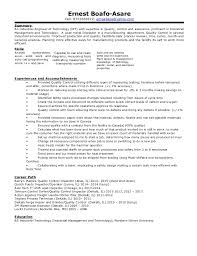 exle of a resume summary ernest professional industrial engineering of technology resume
