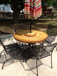 patio table base ideas old wrought iron table base end of wire spool another lazy susan