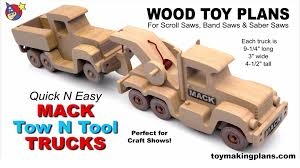 wood toy plans quick n easy mack tow n tool trucks youtube