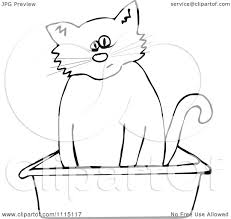 clipart outlined cat using a kitty litter box royalty free