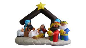Christmas Decorations Nativity Outdoor by Amazon Com 6 Foot Christmas Inflatable Nativity Scene With Three