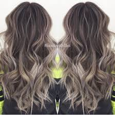 brunette hairstyle with lots of hilights for over 50 beautiful long dark brown hair with lots of cool tone ash blonde