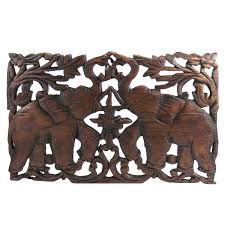 jubilant thai elephant handmade teak wood relief wall art panel