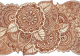 indian henna tattoo style vector floral horizontal seamless stripe