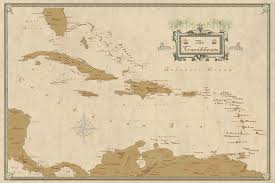 Map Of West Indies Caribbean West Indies Decorative Modern Day Antique
