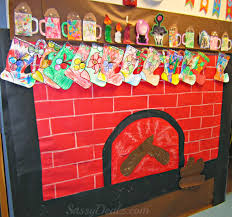 fireplace christmas bulletin board idea for your classroom best