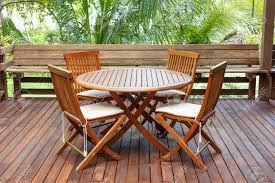 Teak Wood Teak Wood Furniture Stand On The Terrace Stock Photo Picture And