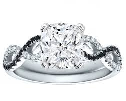 engagement rings with black diamonds engagement ring cushion cut black white infinity