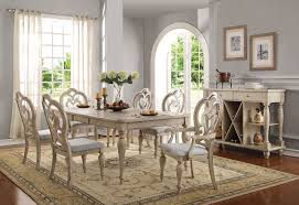abelin dining table 66060 in antique white by acme w options