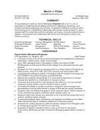 Sample Of Resume For Mechanical Engineer Senior Mechanical Engineer Sample Resume Haadyaooverbayresort Com