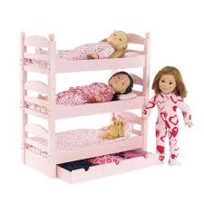 Inch Doll Furniture Stackable Pink Triple Bunk Bed With - Pink bunk bed