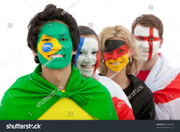 Different Countries And Their Flags Patriotic Group People Different Countries Flags Stock Photo
