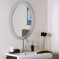 crystal wall mirror glam chic silver oval frameless vanity