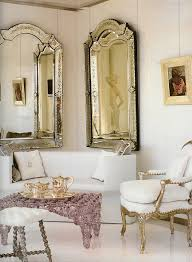 Lovely living room with gilded French side chairs and ornate vintage Venetian glass mirrors via Home Decor Nina Vintage Picasa Web Albums