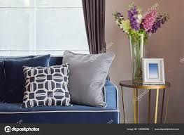 Modern Classic Sofas by Navy Blue Modern Classic Sofa And Retro Gray And Blue Pillows
