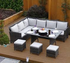 Dark Dining Table by 9 Seat Grey Rattan Corner Sofa And Dining Table Set From Abreo