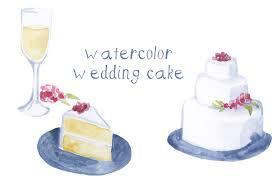 watercolor wedding cake illustration illustrations creative market