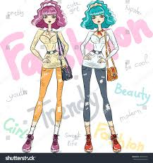vector beautiful fashion hipster girls top stock vector 248922376