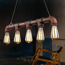 copper pipe light fixture copper pipe hanging light retro industrial edison bulbs 5 heads