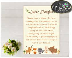 baby shower woodland diaper thoughts game with forest animals