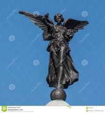 greek goddess nike winged victory skipton war memorial stock photo