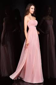 cheap chiffon pink evening dress strapless long gowns with draped