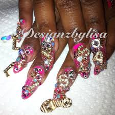 stiletto with encapsulated nail art glitter colored acrylic